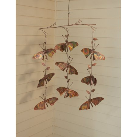 Ancient Graffiti Butterfly Triple Strand Hanging Chime