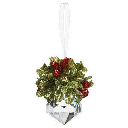 "GANZ 2.5 ""Kyrstal Kiss Ball Ornament, Teeny Mistletoe Jewel - Wedding Acrylic Kissing Crystal-like KK243"