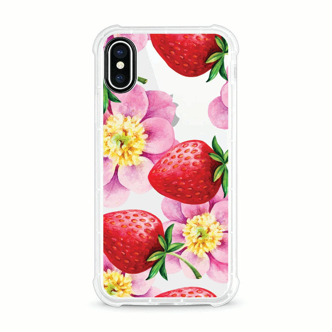 OTM Essentials iPhone X Clear Rugged Edge Phone Case, Strawberry Flowers