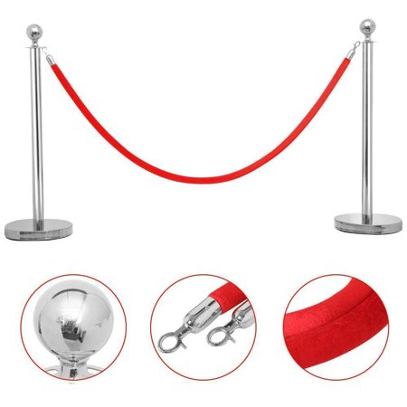 Zimtown 2 Silver Stanchion With Red Velvet Rope Post Crowd Control Queue Pole Barrier