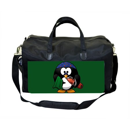 Penguin Surfer Large Black Duffel Satchel Style Therapy Supplies / Therapist's Bag - Surfer Supplies