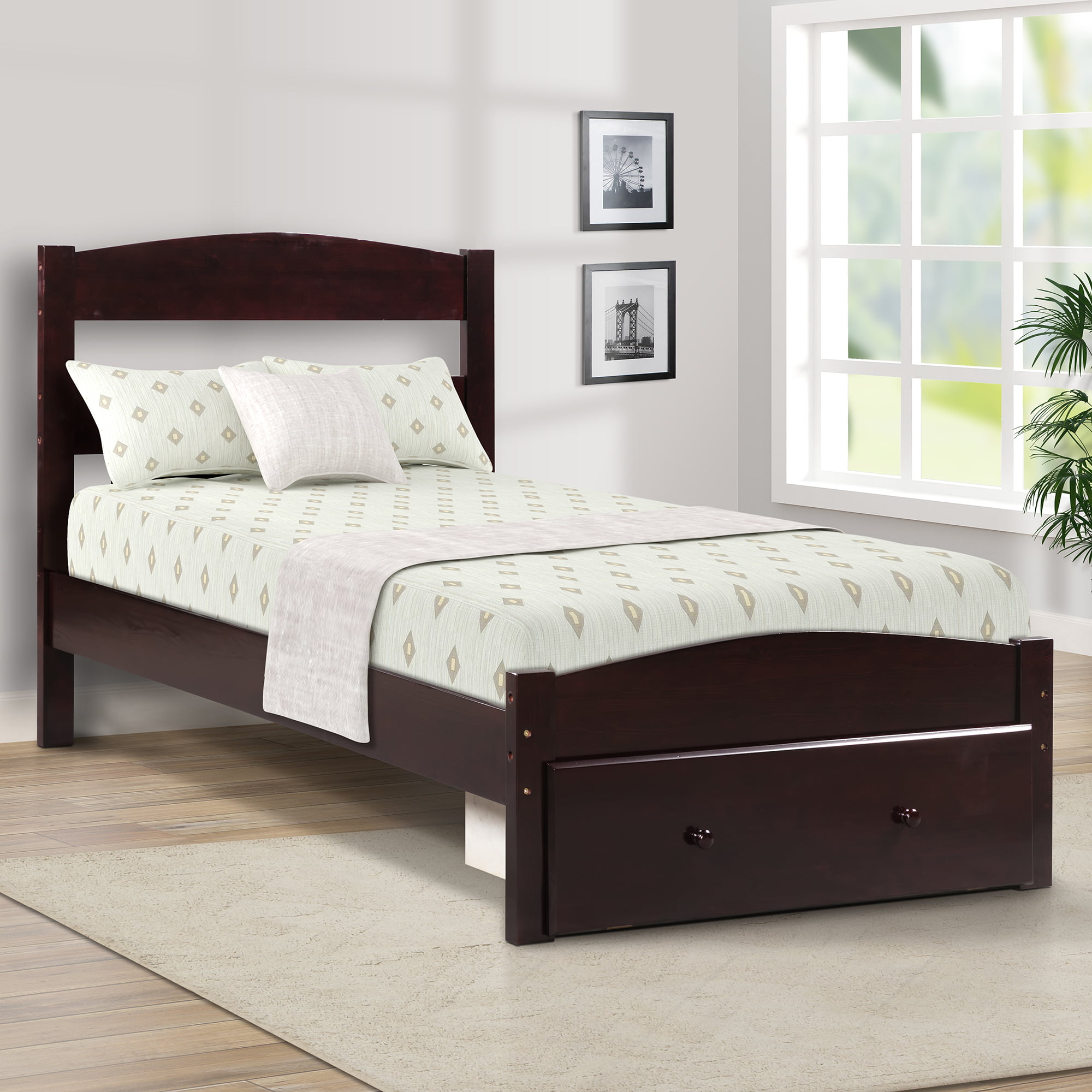 Merax Twin Size Wood Bed With Headboard And Storage Drawer