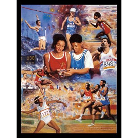 FRAMED Track & Field Dreaming by Clemente Micarelli 18x22 Art Print Poster Sports Young Boy and Girl Dreaming of Being Track and Field Stars Holding Gold Medal and Trophy