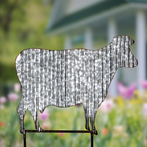 Exhart Corrugated Metal Cow Garden Stake, 19 by 19 Inches