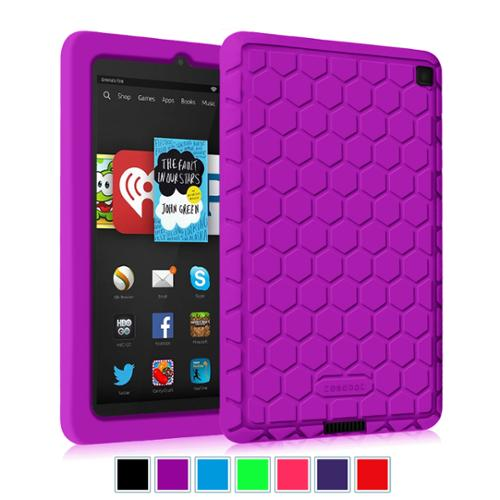 Kindle Fire HD 6 Tablet (2014 Oct Release) Silicone Case - Fintie Kids Friendly Protective Skin Cover Shock Proof,Purple