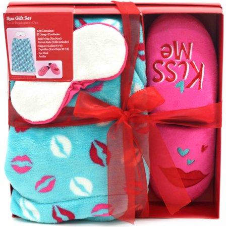 Valentine 39 s day spa gift set with shower wrap slippers for Bath wraps bathroom remodeling reviews