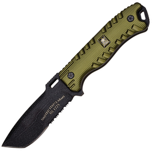 U.S. ARMY A-1016GN Aluminum Handle Fixed Blade Knife, 9.25-Inch Multi-Colored