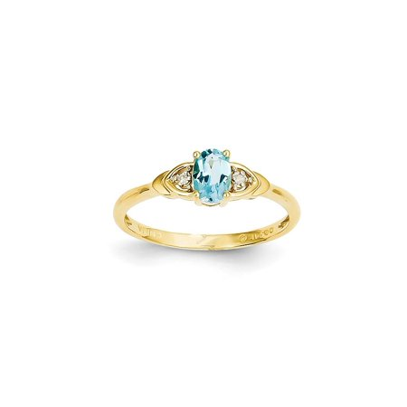 14k Yellow Gold Diamond Blue Topaz Band Ring Size 7.00 Stone Birthstone December Set Style Fine Jewelry For Women Gift Set ()