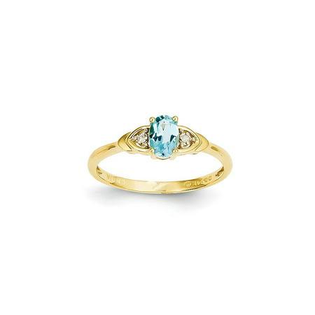 14k Yellow Gold Diamond Blue Topaz Band Ring Size 7.00 Stone Birthstone December Set Style Fine Jewelry For Women Gift Set