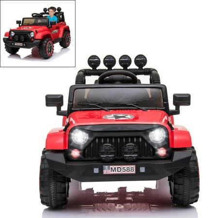 Electric Ride On Car for Kids with Facelift Grille, 12V 2 Motors, 2.4G Remote Control, Spring Suspension, LED Light & MP3 Socket, Openable Door, Parental Pull Handle -