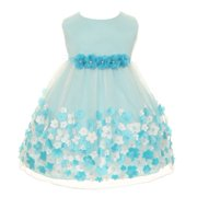 Baby Girls Aqua Taffeta Flowers Sleeveless Dress 18M