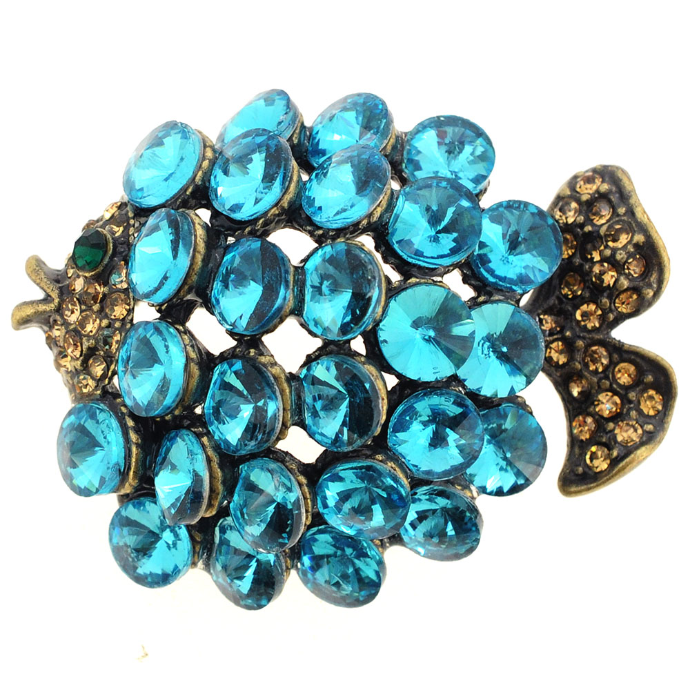 Turquoise Blue Crystal Fish Pin Brooch by