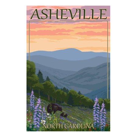 Asheville, North Carolina - Spring Flowers and Bear Family Print Wall Art By Lantern Press