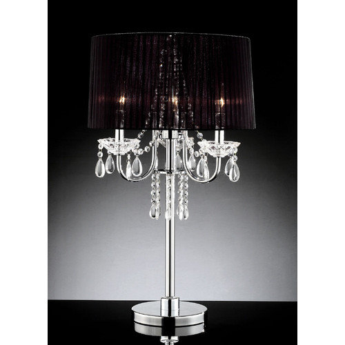 OK Lighting Crystal Drop 27.5'' H Table Lamp with Empire Shade