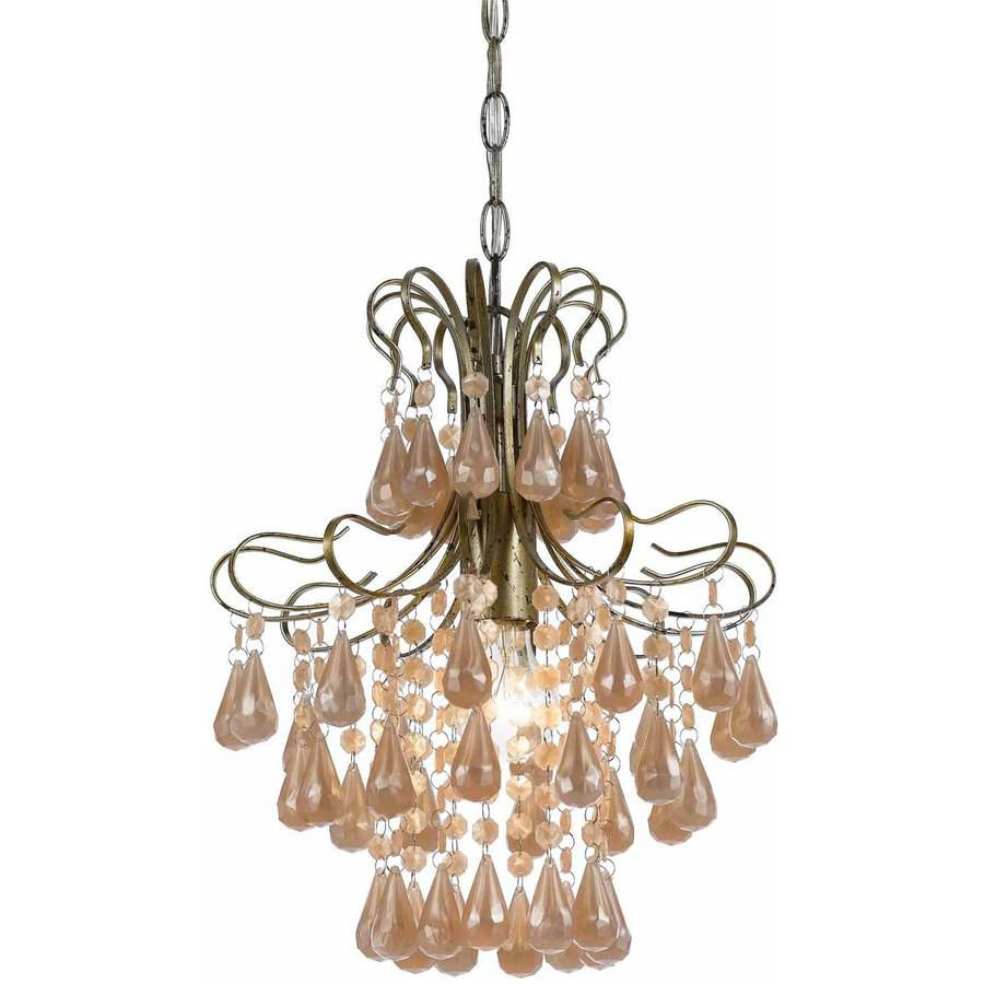 AF Lighting Tiffany 1-Light Mini Pearl Chandelier, White Plastic/Soft Gold