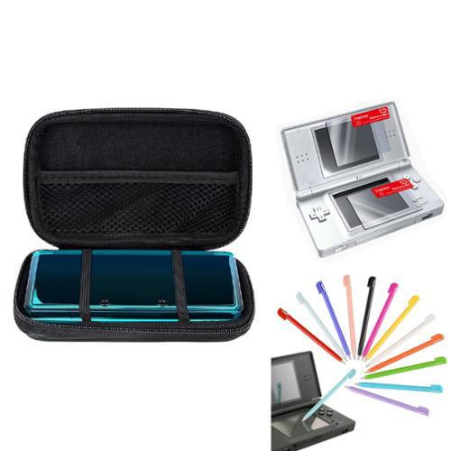 Insten Black EVA Case+12x Plastic Stylus+2-LCD Screen Protector For Nintendo DS Lite