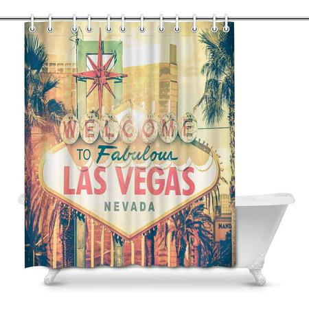MKHERT Vintage Las Vegas Boulevard Entrance Sign City View Waterproof Shower Curtain Decor Fabric Bathroom Set Hooks 66x72 inch