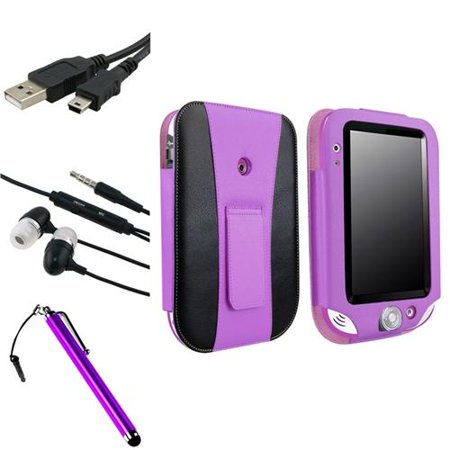 Insten Purple Leather Case with Stand + Stylus + Headset + Cable for Leapfrog LeapPad Ultra/Ultra Xdi