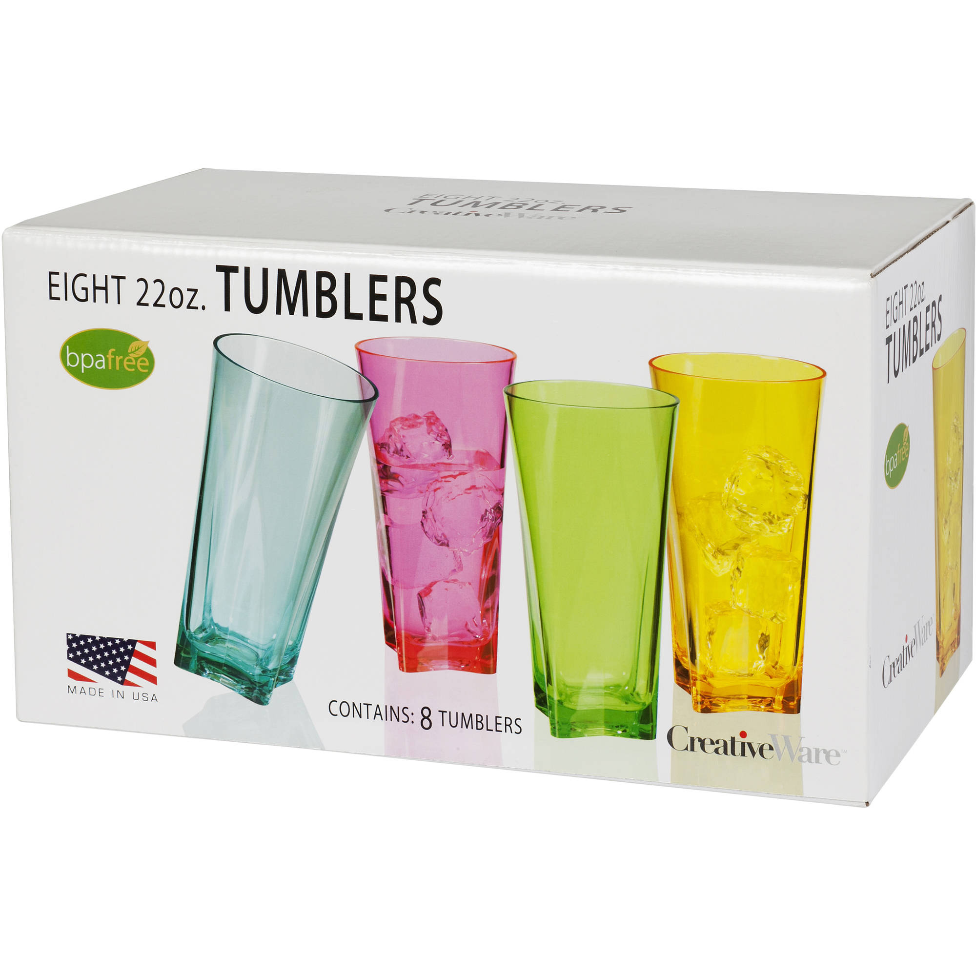 Creative Ware Atlantis 20 oz Tumbler Set, Assorted Colors, 8pk