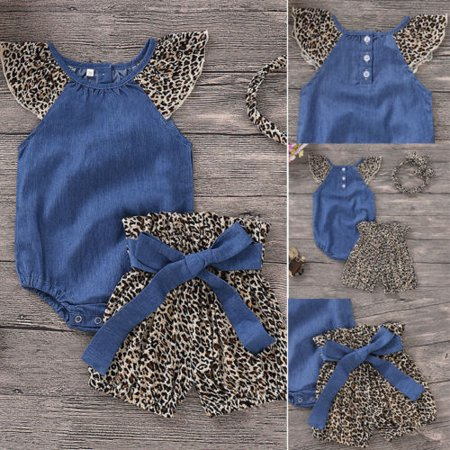 Baby Girls Cowboy Denim Shirt + Leopard Print Skirt + Headband Outfits 3Pcs Set (Cowboy Girls Outfits)