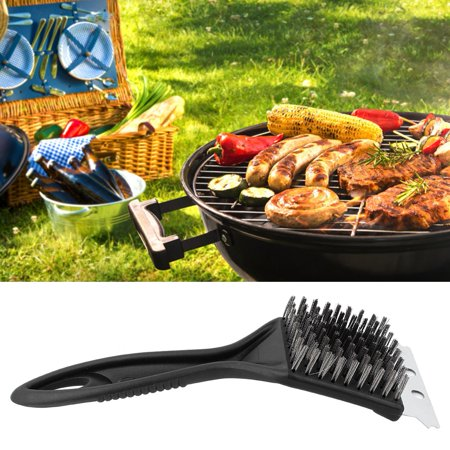 Image of EOTVIA BBQ Scraper,Stainless Steel Plastic BBQ Cleaning Brush Cleaner Scraper Camping Picnic , Stainless Steel BBQ Cleaning Brush