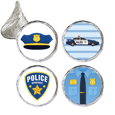 60s Theme Party Decorations (Police Party Favor Candy Stickers 324 ct - Kids Police Themed Party Favors Supplies Police Officer Decorations - 324 Count)