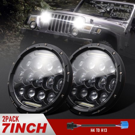 TSV 7 Inch Led Headlight, 75W White DRL Turn Signal Light for Jeep Wrangler JK CJ TJ Hummber, H13 H4 Plug and Play,