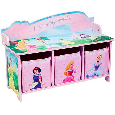 Fantastic Disney Princess Toy Bench With Back And 3 Bins Beatyapartments Chair Design Images Beatyapartmentscom