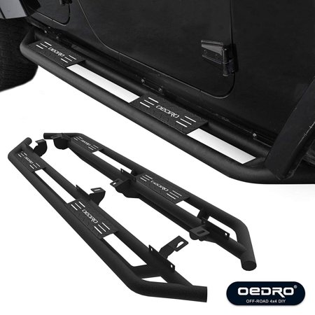 OEDRO Side Step GUARDIAN Kit Compatible for 2007-2018 Jeep Wrangler JK 4 Door, Unique Multi-layer Slip-proof Corrosion Protection, Upgraded Textured Black Nerf Bars Running Boards (No 2 DR & No JL)