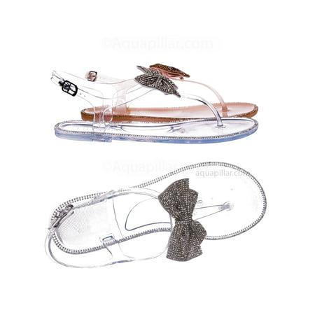 a60e4b228b Jelli42 by Liliana, Clear PVC Jelly Rhinestone Crystal Bow Sandal - Women  Thong Slip On