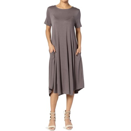 - TheMogan Women's S~3X Short Sleeve Fit & Flare A-line Draped Jersey Midi Dress