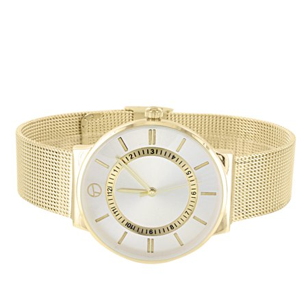 Gold Tone Mesh Band Watch Stainless Steel Back Analog Techno Pave Water Resistant