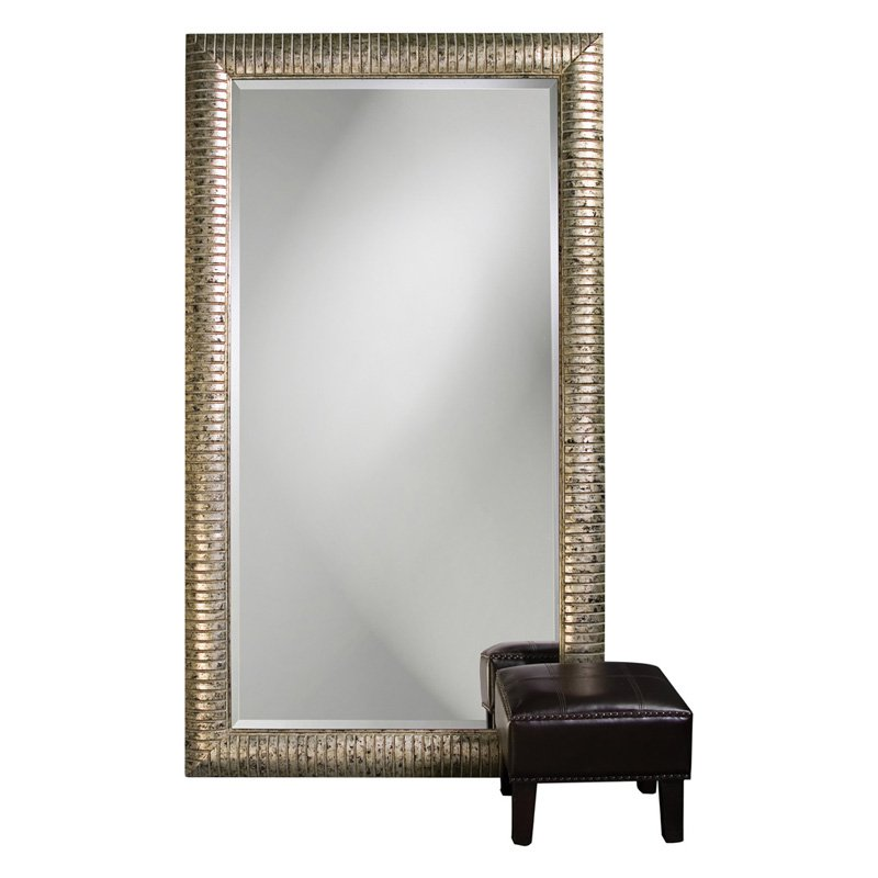Elizabeth Austin Daniel Mottled Silver Leaf Leaning Floor Mirror 48W x 84H in. by Howard Elliott