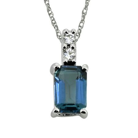 0.58 Cts. London Blue Topaz White Zircon 925 Sterling Silver Chain Pendant