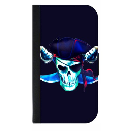 Watercolor Style Pirate Skull - Wallet Style Phone Case with 2 Card Slots Compatible with the Samsung Galaxy s4 (Samsung Galaxy S4 Water Damage Indicator Color)