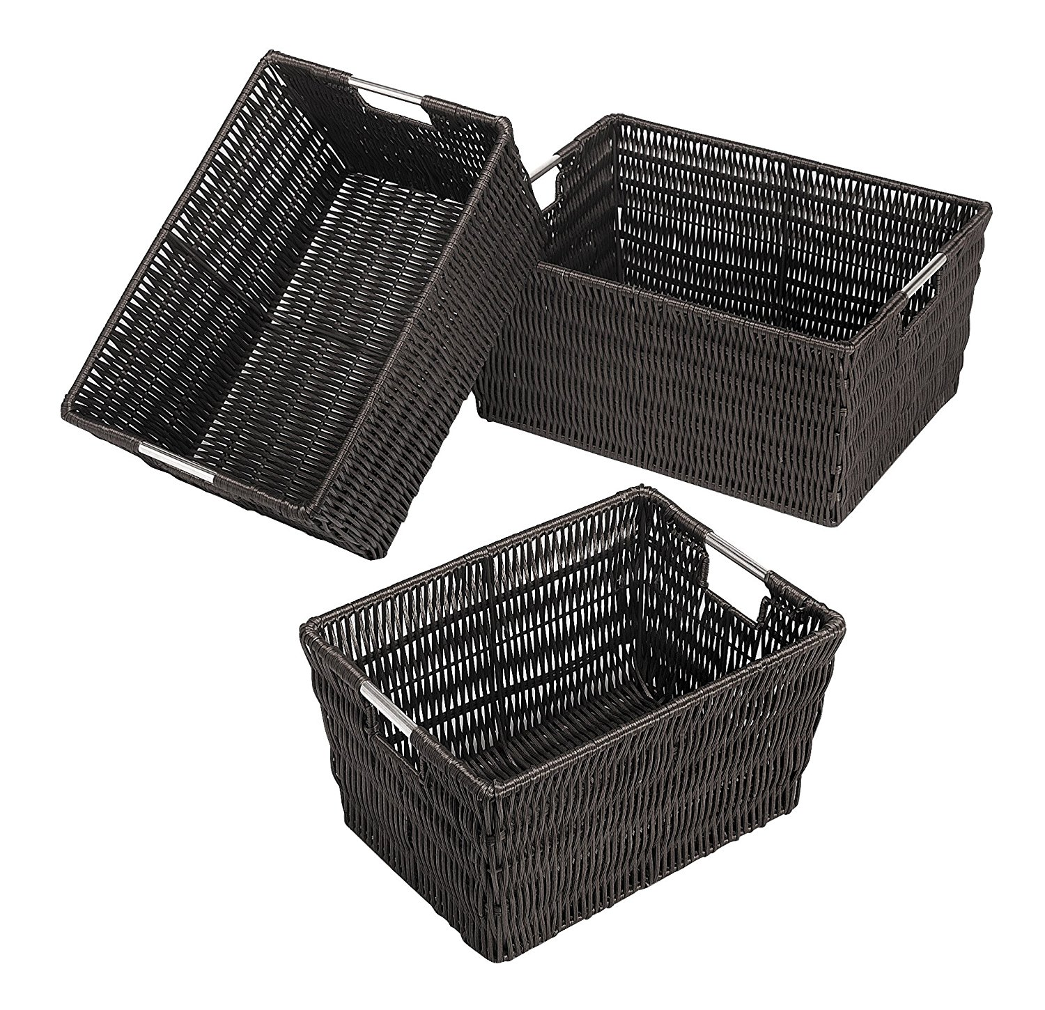 Rattique Storage Baskets Set of 3 Espresso, COLLECTION Rattan RATTIQUE Zippered Metal your office Insert space Hanging... by