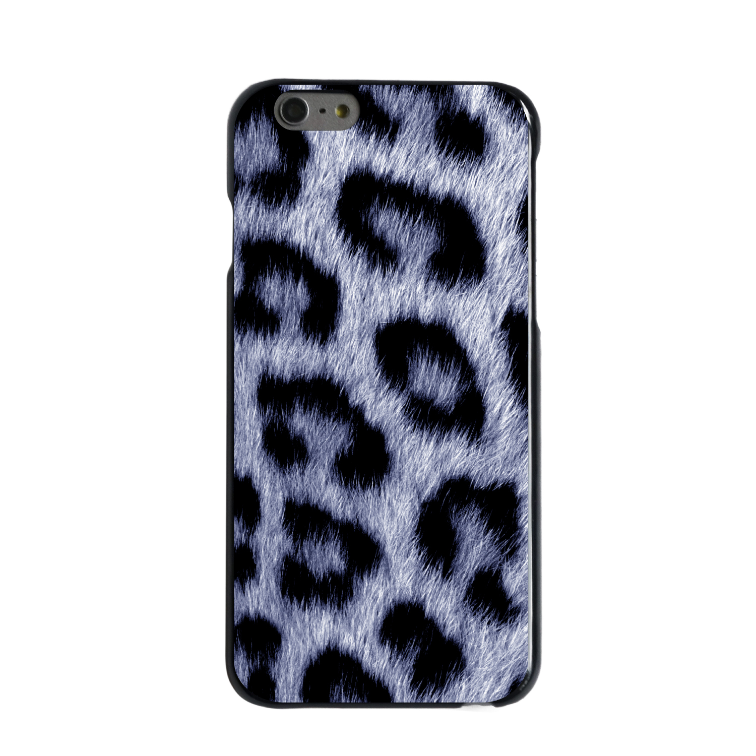 "CUSTOM Black Hard Plastic Snap-On Case for Apple iPhone 6 / 6S (4.7"" Screen) - Blue Black Leopard Fur Skin"