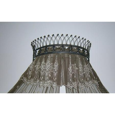 Octorose Metal Wall Teester Bed Canopy Drapery Crown Hardware