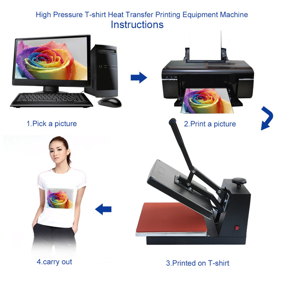 38*38cm High Pressure T-shirt Heat Transfer Printing Equipment Machine