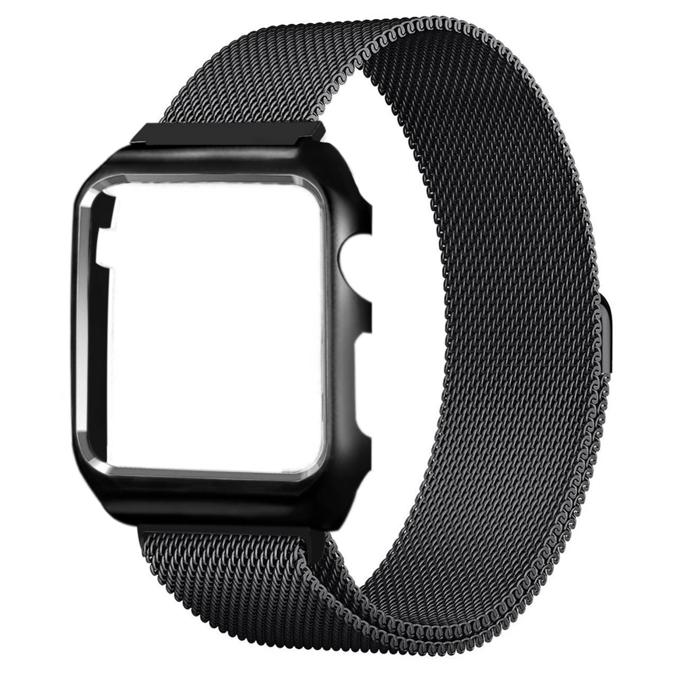 Stainless Steel Milanese Loop Mesh Replacement Band with Frame Adjustable Magnetic Closure Clasp for Apple Watch Series 1, Series 2, Series 3, 38mm