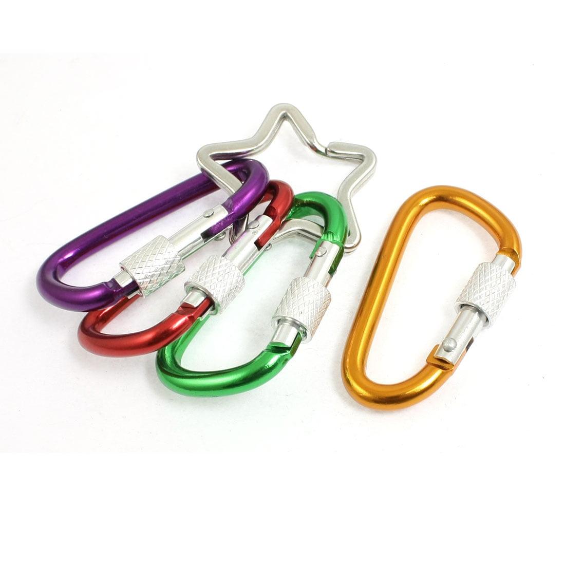 Colorful D Shape Screw On Lock Keychain Carabiner W