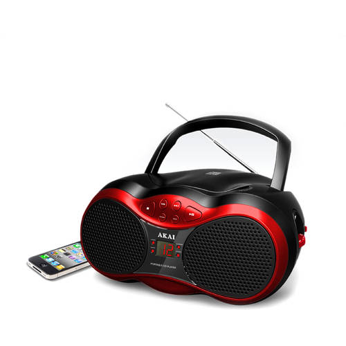 Akai CE2018B CD Boombox with AM/FM Radio, Black/Red