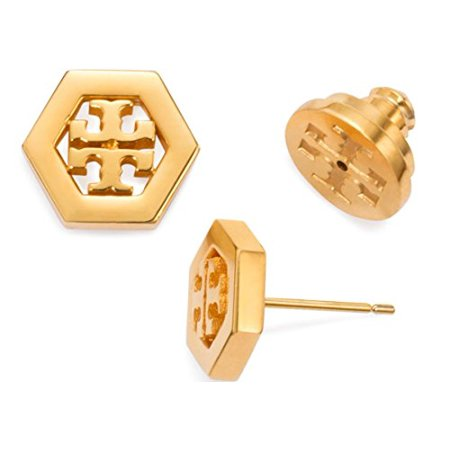 Tory Burch Hex Logo Stud Earrings 16k Gold With Dust Cover