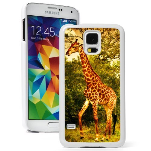 Samsung Galaxy (S5 Active) Hard Back Case Cover Giraffe Family Safari (White)
