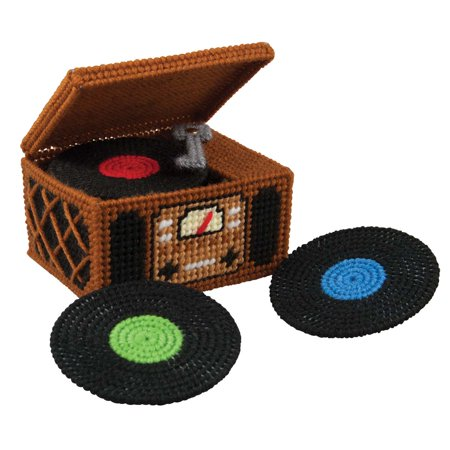 Herrschners® Vintage Records Coasters with Holder