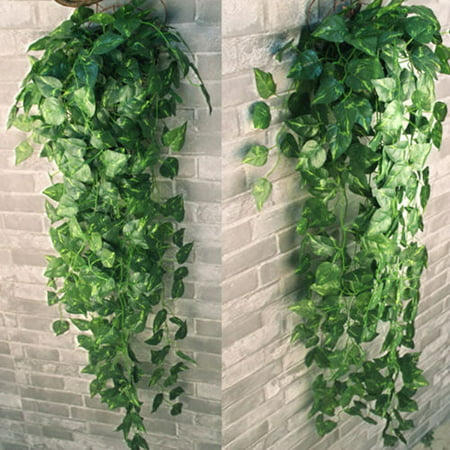 2 Bunch 4ft Artificial Silk Scindapsus Ivy Leaf Garland Plant Vine Foliage Decor Artificial Plants and Flowers (Ivy Block)