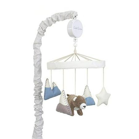 (Dwell Studio Bear Hugs Nursery Crib Musical Mobile, Blue/Gray/White Bear/Mountains)