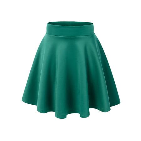 MBJ Womens Basic Versatile Strechy Flare Skater Skirt Black Khaki Skirt