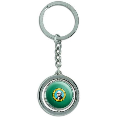 Washington State Flag Spinning Round Metal Key Chain Keychain Ring