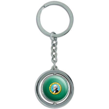 Washington State Flag Spinning Round Metal Key Chain Keychain Ring